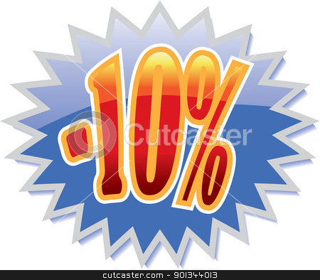 10% discount label stock vector clipart, Blue discount label with red -10%. Vector illustration by Ints Vikmanis