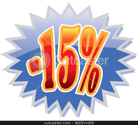 15% discount label stock vector clipart, Blue discount label with red -15%. Vector illustration by Ints Vikmanis