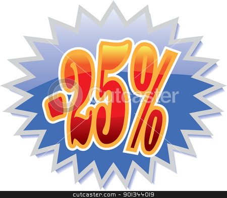 25% discount label stock vector clipart, Blue discount label with red -25%. Vector illustration by Ints Vikmanis
