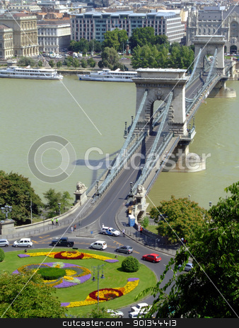 Szchenyi Chain Bridge on Danube river stock photo, Szchenyi Chain Bridge in Budapest was designed by the English engineer William Tierney Clark in 1839, after Count Istvn Szchenyi initiative in the same year. by Massimiliano Pieraccini