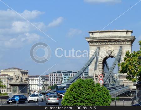 Szchenyi Chain Bridge in Budapest stock photo, Szchenyi Chain Bridge in Budapest was designed by the English engineer William Tierney Clark in 1839, after Count Istvn Szchenyi initiative in the same year. by Massimiliano Pieraccini