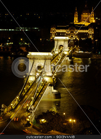 Szchenyi Chain Bridge in Budapest by night stock photo, Szchenyi Chain Bridge in Budapest was designed by the English engineer William Tierney Clark in 1839, after Count Istvn Szchenyi initiative in the same year. by Massimiliano Pieraccini