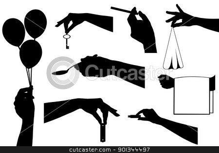 Hands holding a different objects stock vector clipart, Hands holding a different objects isolated on white by Ioana Martalogu