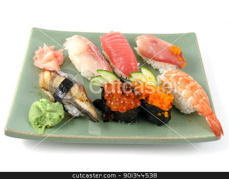 Sushi stock photo, A plate of nigiri sushi by Harris Shiffman