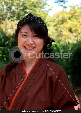 Japanese Woman stock photo, portrait of a Japanese woman with traditional clothing by Henrik Lehnerer