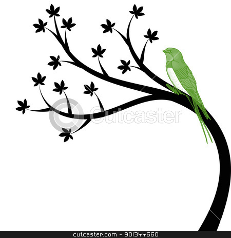 Tree and bird stock vector clipart, Beautiful tree and bird isolated on white background by Ingvar Bjork