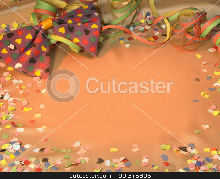 carnival scenery stock photo, colorful symbolic carnival and party background with decorative blow-out, bow tie and confetti by prill