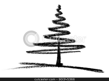 conifer sketch stock photo, crayon-painted conifer in white back by prill
