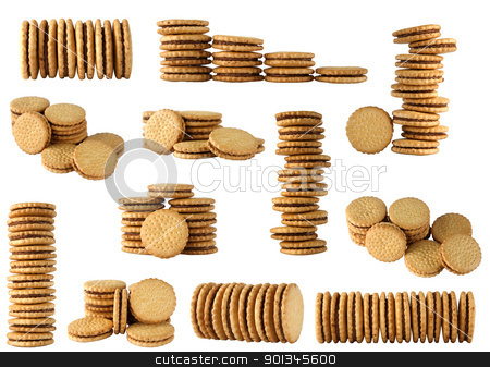 round biscuits arranged in different shape stock photo, round biscuits arranged in different shape on white background by caimacanul
