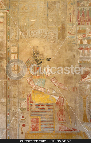 painting inside the Mortuary Temple of Hatshepsut stock photo, ancient painting inside the Mortuary Temple of Hatshepsut in Egypt by prill