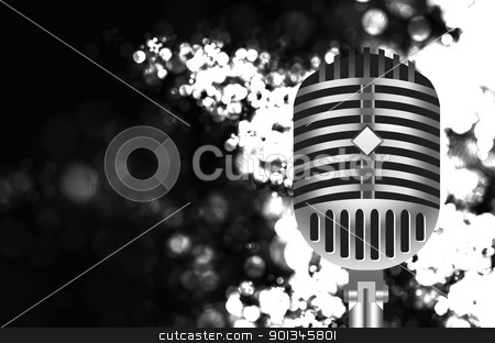 vintage microphone on stage stock vector clipart, vintage retro microphone on stage. Vector illustration by sermax55