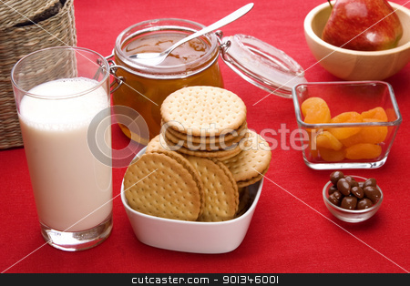 Breakfast foods stock photo, Delicious breakfast foods over red fabric background by Victor Oancea