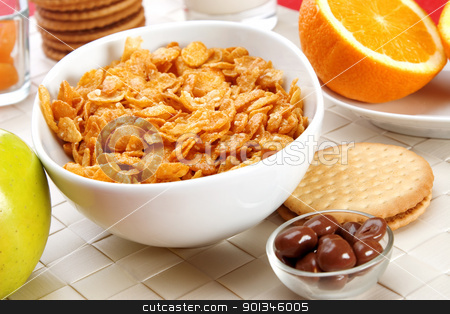 Breakfast foods stock photo, Delicious breakfast foods, cereals, fruits milk and biscuits by caimacanul