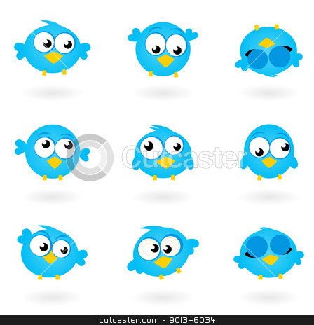 Cute blue vector Twitter Birds icons collection isolated on whit stock vector clipart, Blue funny Twitter Birds collection. Vector icons  by Jana Guothova