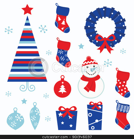 Christmas cartoon icons & elements isolated on white (red, blue) stock vector clipart, Christmas vector icons collection.   by Jana Guothova