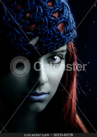 Fashion woman stock photo, Close-up portrait of a beautiful and young woman with the face painted by ikostudio