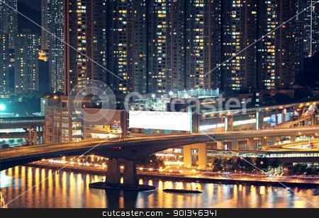Night shot of a city skyline. stock photo, Night shot of a city skyline. by Keng po Leung