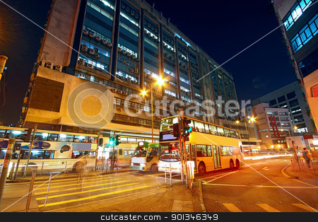 Traffic night in urban city stock photo, Traffic night in urban city by Keng po Leung