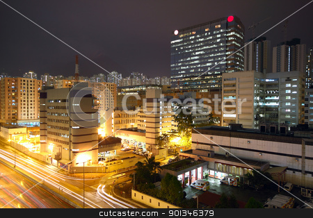 urban downtown night stock photo, urban downtown night, hong kong by Keng po Leung