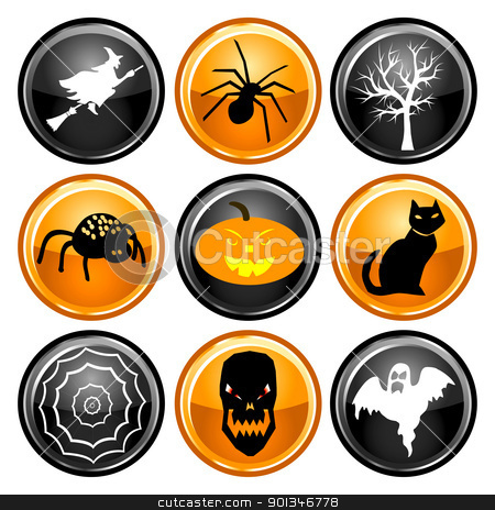 Halloween Button Icons stock vector clipart, Vector Illustration of nine black, orange and white round Halloween button icons. by Basheera Hassanali