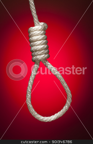 Hangman's Noose Over Red Background stock photo, Hangman's Noose Over Red Spot Lit Background. by Andy Dean