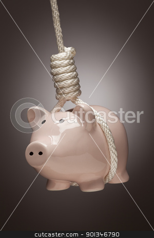 Piggy Bank Hanging in Hangman's Noose stock photo, Piggy Bank Hanging in Hangman's Noose on Spot Lit Background. by Andy Dean