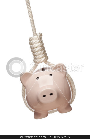 Piggy Bank Hanging in Hangman's Noose on White stock photo, Piggy Bank Hanging in Hangman's Noose Isolated on a White Background. by Andy Dean