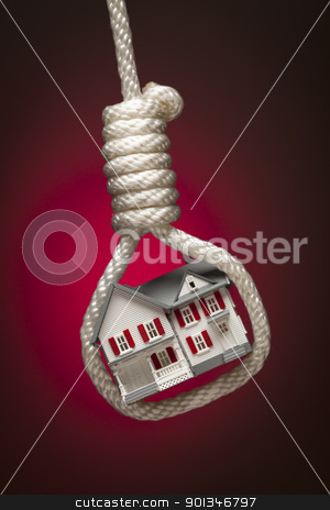 House Tied Up and Hanging in Hangman's Noose on Red stock photo, House Tied Up and Hanging in Hangman's Noose on Red Spot Lit Background. by Andy Dean