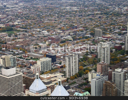Chicago aerial view stock photo, aerial view of Chicago (USA) at summer time by prill