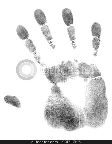 palm of hand print stock photo, black print of a hand and fingers by prill
