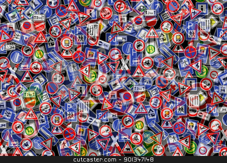 chaotic traffic back stock photo, traffic and order theme showing a collage with lots of various german traffic signs on each other by prill