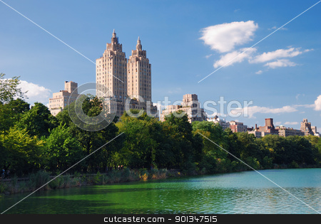 Manhattan Central Park stock photo, New York City Central Park urban Manhattan skyline with skyscrapers and trees lake reflection with blue sky and white cloud. by rabbit75_cut