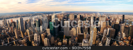 Manhattan  stock photo, New York City Manhattan aerial panorama view with New Jersey from west Hudson River and skyscrapers at sunset. by rabbit75_cut