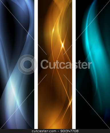 Abstract dark wave banner set stock vector clipart, Vertical banner set, proportions 600x160. Wavy patterns on dark background with light effects. EPS10 by Ina Wendrock