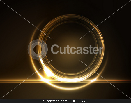 Golden glowing round frame for your text stock vector clipart, Golden light effects on round placeholder for your text on dark brown background. by Ina Wendrock