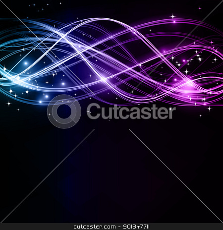 Abstract wavy patterns with stars stock vector clipart, Overlaying wavy lines forming an abstract futuristic pattern on a dark background. With stars and space for your text. EPS10 by Ina Wendrock