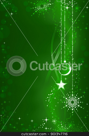Abstract green Christmas background with ornaments and embellishment stock vector clipart, Vertical dark green background with Christmas ball, star and snowflake hanging on the right site and space for your text on the left. Festive background for the festive season. by Ina Wendrock