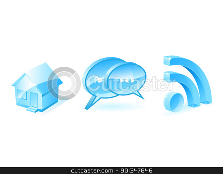 Internet icons stock vector clipart, Blue internet icons isolated on white by Vladimir Gladcov