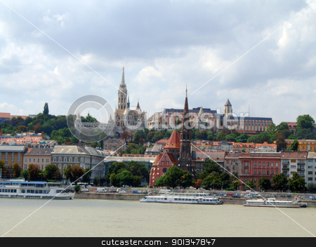 Budapest stock photo, Panoramic view of Buda Hill in Budapest and Danube river by Massimiliano Pieraccini