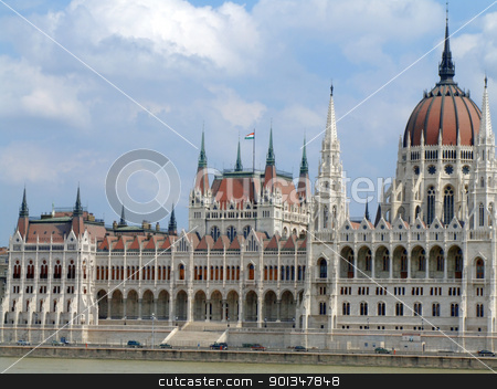 House of the nation and Danube river stock photo, View of the house of the nation and Danube river on a cloudy afternoon by Massimiliano Pieraccini