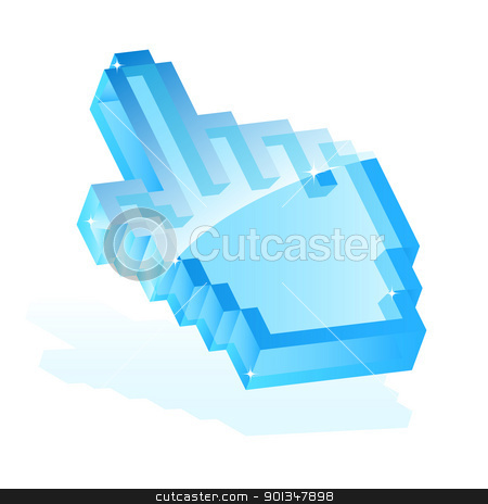 Hand cursor stock vector clipart, Illustration of a blue hand cursor icon isolated on white for your design by Vladimir Gladcov