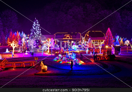 Christmas fantasy - trees and houses in lights stock photo, Christmas fantasy - trees and houses in lights on beautiful snowy winter night by xbrchx