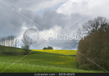 cloudy spring scenery stock photo, landscape in Southern Germany at spring time with dramatic sky by prill