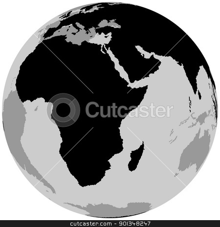 Earth - Africa stock photo, Earth - Africa - black illustration by derocz