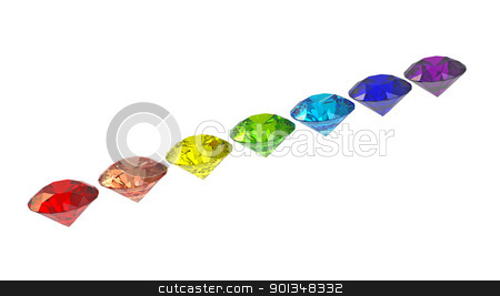 Diamonds stock photo, Seven diamonds in colors of rainbow 3d render isolated on white by Borislav Marinic