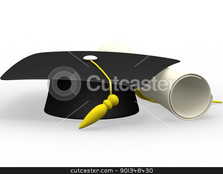graduation cap diploma isolated on a white background  stock photo, graduation cap diploma isolated on a white background   by dacasdo