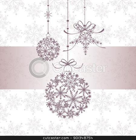 Christmas greeting card stock vector clipart, Christmas greeting card with snowflake ball and star by meikis
