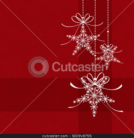 Abstract elegance red Christmas snowflake seamless pattern stock vector clipart, Abstract elegance red Christmas snowflake seamless pattern by meikis