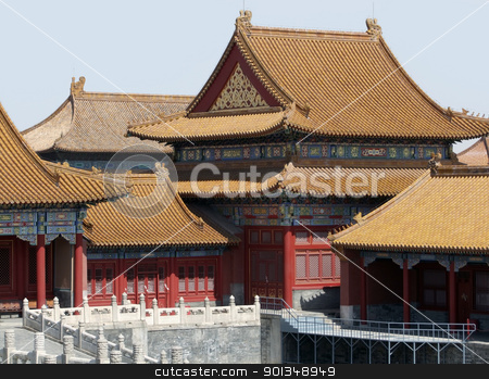 detail of the Forbidden City in Beijing stock photo, sunny iluminated architectural scenery inside the Forbidden City in Beijing (China). The Forbidden City was the imperial palace from the Ming Dynasty to the end of the Qing Dynasty by prill