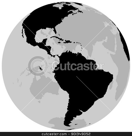 Earth - America stock photo, Earth - America - black illustration by derocz